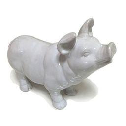 """Ceramic Happy Pig Figurine White 10"""" - Drew DeRose   Target"""