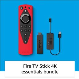 Fire TV 4K Essentials Bundle including Fire TV Stick 4K, Remote Cover (Red) and USB Power Cable   Amazon (US)