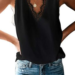 BLENCOT Women's V Neck Lace Trim Tank Tops Casual Loose Sleeveless Blouse Shirts   Amazon (US)