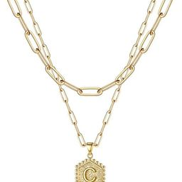 M MOOHAM Dainty Layered Initial Necklaces for Women, 14K Gold Plated Paperclip Chain Necklace Sim...   Amazon (US)