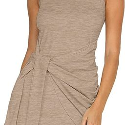 LIYOHON Women's Summer Short Dress Casual Crewneck Sleeveless Solid Color Ruched Tie Waist Bodyco...   Amazon (US)