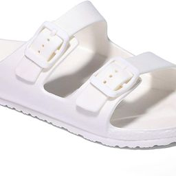 ANLUKE Kids Comfort Slides Soft Sandals with Adjustable Double Buckles Slip On Slide Sandal for B... | Amazon (US)