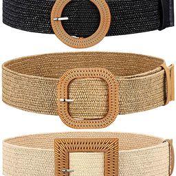 3 Pieces Straw Woven Elastic Waist Belt for Women Bohemian Dress Braided Belt   Amazon (US)