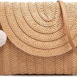 Straw Shoulder Bag Straw Clutch Women Hand-woven PomPom Straw Crossbody Bag Summer Beach Envelope...   Amazon (US)