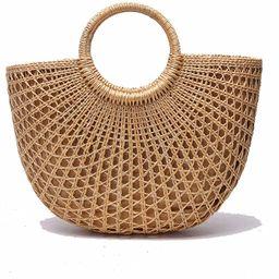 JOLLQUE Handwoven Womens Straw Tote Bags,Top Handle Handbag,Beach Bag Purse   Amazon (US)