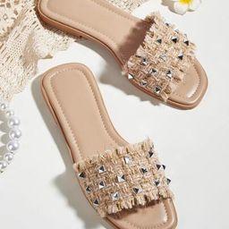 Studded Decor Fringe Trim Slide Sandals | SHEIN