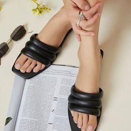 Vegan Leather Padded Slide Sandals | SHEIN