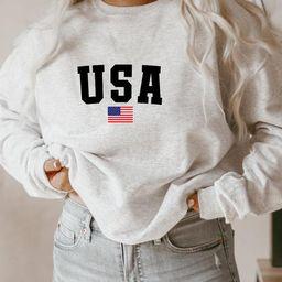 USA Sweatshirt, Womens Sweatshirt, America Sweatshirt, White sweatshirt, Vintage Sweatshirt, USA ... | Etsy (US)