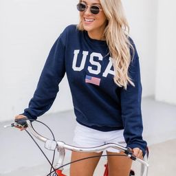 Athletic USA Flag Sweatshirt Navy   The Pink Lily Boutique