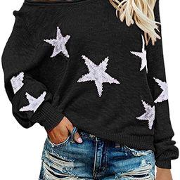 COCOLEGGINGS Women's Scoop Neck Long Sleeve Star Pullover Sweater Tunic Tops   Amazon (US)