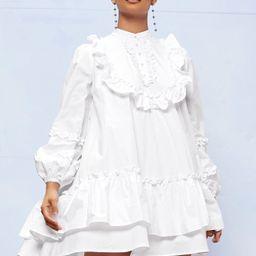 SHEIN Pearls Button Frill Trim Layered Hem Dress | SHEIN