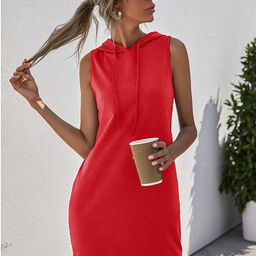 Drawstring Sleeveless Hooded Dress   SHEIN