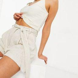 ASOS DESIGN tie waist linen shorts in stone   ASOS (Global)