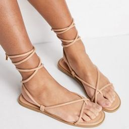Missguided toe post sandals with tie up detail in sand   ASOS (Global)