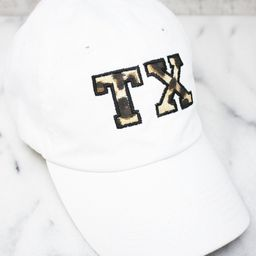 Leopard Print State Letters Applique Baseball Cap   The Pink Lily Boutique