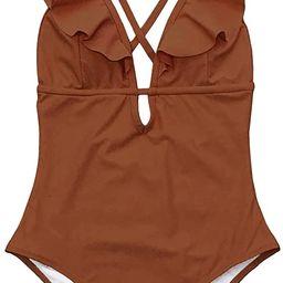 CUPSHE Women's One Piece Swimsuit Ruffle Deep V Neck Strappy Swimwear Bathing Suits   Amazon (US)