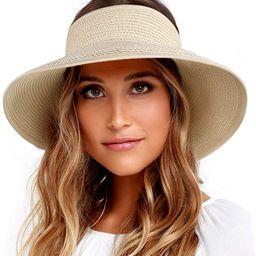 FURTALK Sun Visor Hats for Women Wide Brim Straw Roll Up Ponytail Summer Beach Hat UV UPF Packabl...   Amazon (US)