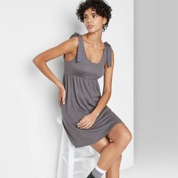 Women's Sleeveless Tie-Strap Babydoll Textured Knit Dress - Wild Fable™   Target