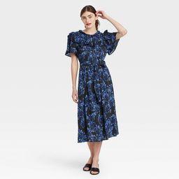 Women's Printed Ruffle Short Sleeve Shirtdress - Who What Wear™ Black | Target