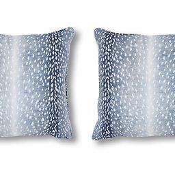 S/2 Doeskin Pillows, Indigo/White Linen   One Kings Lane