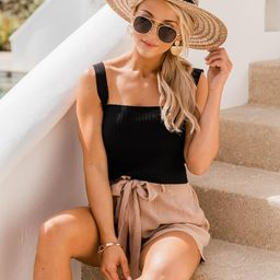 Bayside Stroll Paperbag Linen Tan Shorts   The Pink Lily Boutique
