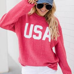 Jersey USA Graphic Red Corded Sweatshirt   The Pink Lily Boutique