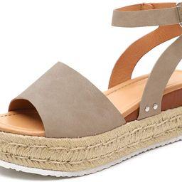 Athlefit Women's Platform Sandals Espadrille Wedge Ankle Strap Studded Open Toe Sandals | Amazon (US)