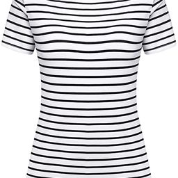 Women's Short Sleeve Striped T-Shirt Tee Shirt Tops Casual Loose Fit Blouses | Amazon (US)