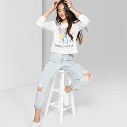 Women's High-Rise Distressed Mom Jeans - Wild Fable™ Light Wash   Target