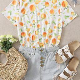 SHEIN Allover Orange Print Tee   SHEIN