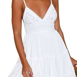 ECOWISH Womens V-Neck Spaghetti Strap Bowknot Backless Sleeveless Lace Mini Swing Skater Dress | Amazon (US)