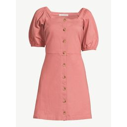 Free Assembly Women's Square Neck Dress with Puff Sleeves | Walmart (US)