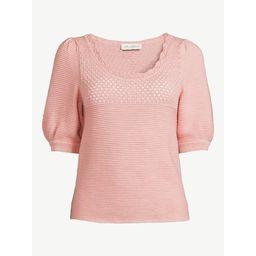 Free Assembly Women's Puff Sleeve Crochet Sweater | Walmart (US)
