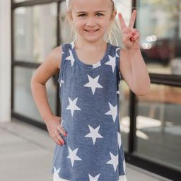 Future Stardom Youth Star Print Blue Tank | The Pink Lily Boutique
