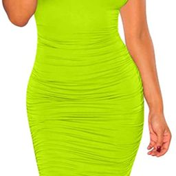 BEAGIMEG Women's Sexy Ruched Bodycon Casual Solid Sleeveless Tank Midi Dress   Amazon (US)