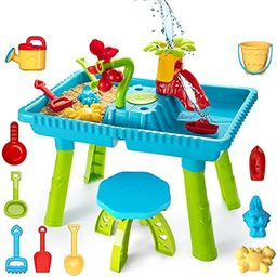 TEMI Kids Sand and Water Table, Toddler Activity Table Sandbox Toy Sensory Table Outdoor Toy Beac... | Amazon (US)