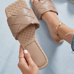 Dual Braided Vamp Slide Sandals | SHEIN
