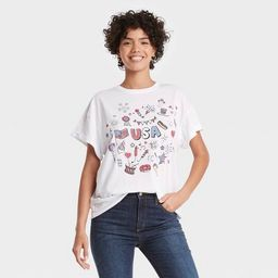 Women's Americana Icons Short Sleeve Graphic T-Shirt - White   Target