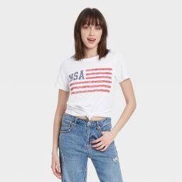 Women's USA Flag Short Sleeve Graphic T-Shirt - White   Target