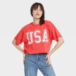 Women's USA Short Sleeve Cropped Graphic T-Shirt - Red   Target