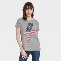 Women's USA Lighting Bolt Short Sleeve Graphic T-Shirt - Heather Gray   Target