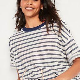 Oversized Striped Cali-Fleece Elbow-Sleeve Sweatshirt for Women | Old Navy (US)