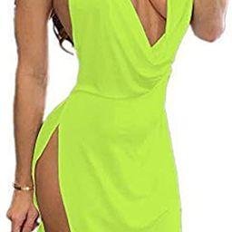 VANCOL Women's Sexy Deep V-Neck Halter Backless Slit Mini Party Club Dress   Amazon (US)