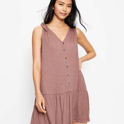 Bow Strap Button Flounce Dress | LOFT