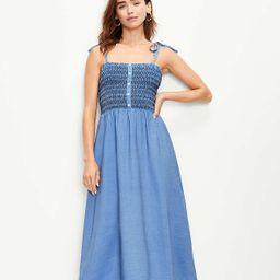 Chambray Smocked Strappy Midi Dress   LOFT