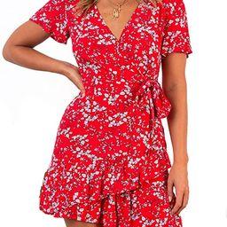Relipop Summer Women Short Sleeve Print Dress V Neck Casual Short Dresses   Amazon (US)