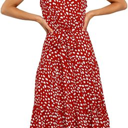 ECOWISH Women Dress Halter Neck Boho Floral Print Sleeveless Casual Backless Maxi Dresses with Be...   Amazon (US)