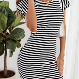 Striped Print Cap Sleeve Fitted Dress | SHEIN