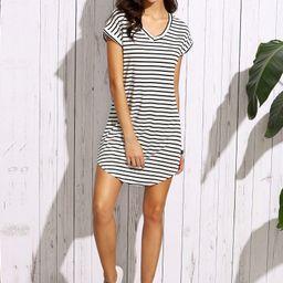 Striped V-Neck Curved Hem T-Shirt Dress | SHEIN
