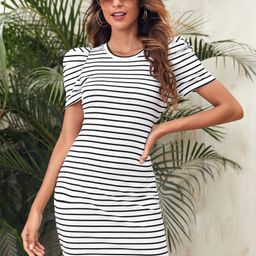 SHEIN Puff Sleeve Rib-knit Striped Dress | SHEIN